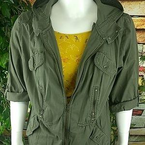 🆕Ruff Hewn Olive drab hooded military jacket EUC